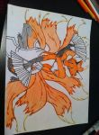 Kitsune Drawing - Step 6 - Partially Colored by Ashsong0