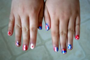 Nail Art--Country Flags by KazeKakyoku