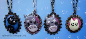 My neighbor Totoro- necklaces by RadiumIridium