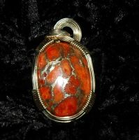 Brecciated coral in gold by DPBJewelry