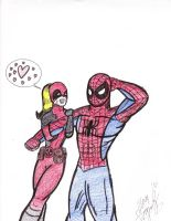 Lady Deadpool likes Spiderman by MasterSoundwave