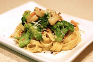 Fettuccine with shrimp and broccoli by Charles-C-Tographer