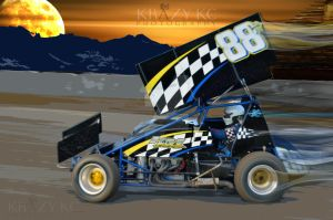 Sprint Car Driver Heath Hall #88 by KrazyKcPhotography