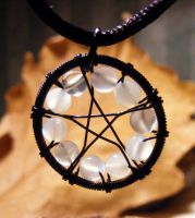 Moonstone Black Pentagram by MoonLitCreations