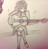Angelique with a guitar by souleaterartist