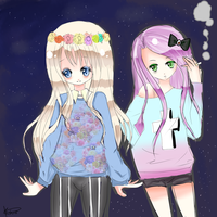 .:Hipster-chan and Pastel gosu-san:. by kagemomochi