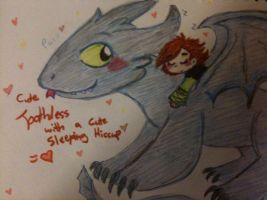 Toothless with napping Hiccup by Kittychan2005