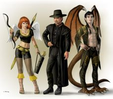 Izzy Weisz, Black Hat, and Cumbersmaug by AlanGutierrezArt