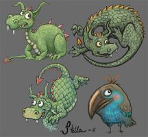 Three baby dragons and a bird by Devilry