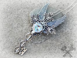 Crystal Queen Key To My Heart Necklace by ArtByStarlaMoore