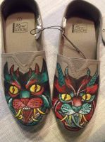 Demon Cats Painted Shoes by FoulOwl