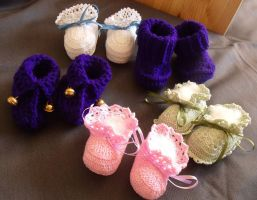 Booties, booties, and more booties by Craftcove
