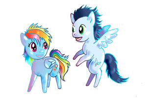 Little Rainbow Dash and Soarin by lotothetrickster