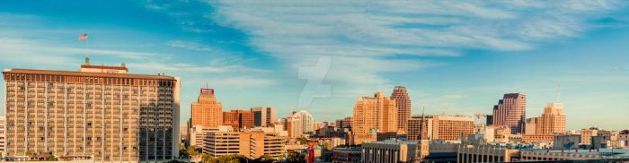 Downtown San Antonio - Sunrise Panorama by DunsparceryKai