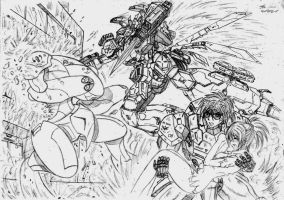 Some action from my manga works AR-Crisis by Cefiros