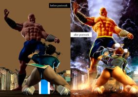CHUNLI VS SAGAT-BEFORE + AFTER POSTWORK by isikol