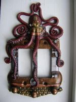 Red Steampunk Octopus Double rocker light switch3 by charleswainman