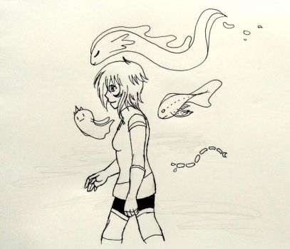 Inktober Day 19 - Naomi and spirits by solcastle