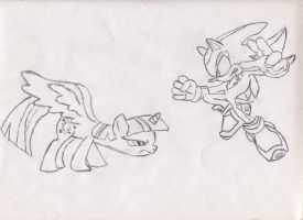 Twilight Sparkle Vs Shadow The Hedgehog by Dragonmasterknight01