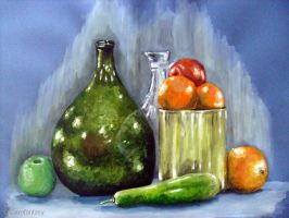 Still life with green bottle by Carofantasy