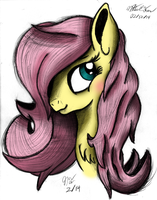 Fluttershy Portrait Commission by AncientOwl