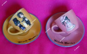 Hand painted Black Butler coffee cups by SimonaZ
