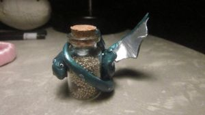 Greedy Dragon Bottle Charm (For SALE) by kiki-alura-reikai