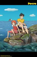 Ponyo and Sosuke on the Cliff by patronustrip