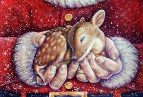 Santa With Baby Deer by Alena-Koshkar