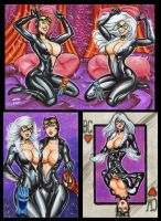 BLACK CAT AND CATWOMAN PERSONAL SKETCH CARDS by AHochrein2010