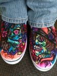 Day of the Dead freehand airbrush van shoes by mjmaehem11