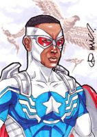 Captain America Sam Wilson ACEO by micQuestion