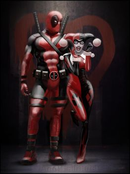 Harley Quinn and Deapool by AndyFairhurst