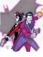 Joker and Harley sketch by PaulRenaud