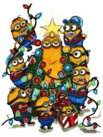 Minions Christmas Card by KwongBee-Arts