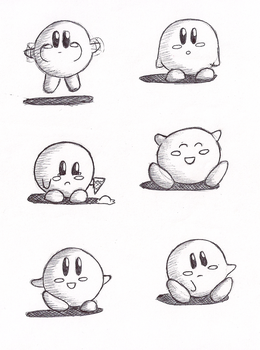 Inktober: Kirby Pen Sketches by MeetJohnDoe