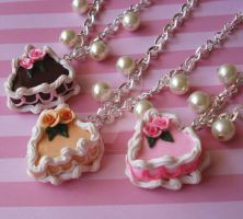 Rose Heart Cake Necklaces by FatallyFeminine