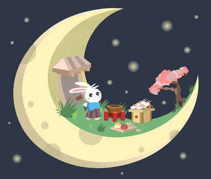 Moon Bunny pounding Mochi by rainELL