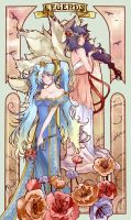Ahri and Sona by daadia