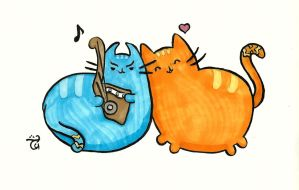 Valentine Pusheen Spirk [Com for LogicallyVulcan] by AloiInTheSky
