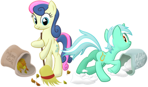 Lyra and Bon Bon Wrapping up Autumn by Frogem