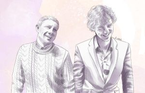Sherlock and John laughing by AzurLazuly