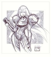 Samus Aran - Pen Sketch by MichaelCrichlow