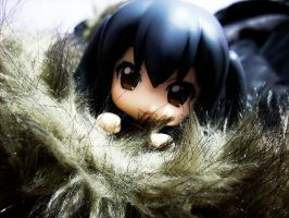 Azusa nendoroid on my coat by Ayinai