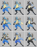 Lucario Variations - Cross Breeds by CoryKatze