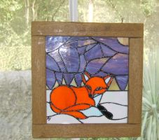 'Fox in Snow' stained glass panel by vulpinedesigns