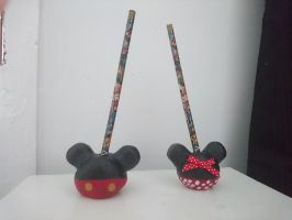 Mickey Mouse and Minnie Mouse Pencil Holder by LiviaAlexandra