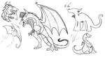 Dragon doodles by RaptorOFire