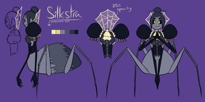 Silkstra - Character Reference Sheet by Derkasnake