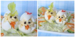 Rooster and Hen Easter Deviled Eggs by Kitteh-Pawz